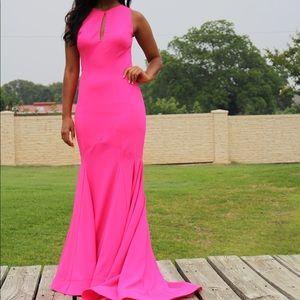 Jovani Hot Pink Keyhole Sleeveless Prom #32941